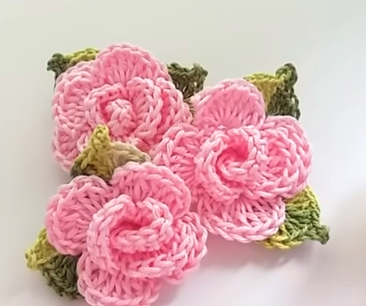 Crochet Rose Applique
